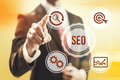 Search engine optimization concept man pointing seo Stock Image