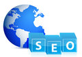 Search engine optimization globe illustration Stock Photo