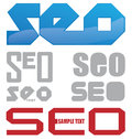Search engine optimization project symbol set Stock Photos