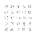 Search engine optimization, seo service vector line icons set Royalty Free Stock Photo