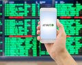 Search for last minute deals at airport Royalty Free Stock Photo