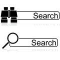Search options icon illustration showing a couple of for bars one with a pair of binoculars and one with a magnifying glass Royalty Free Stock Photography