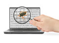 Searching for computer bug hand with magnifying glass is binary code is abstract Royalty Free Stock Photography