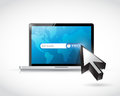 Searching for fair trade laptop internet search illustration Royalty Free Stock Photos