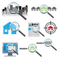 Searching house icons Royalty Free Stock Photos
