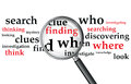 Searching a magnifying glass over a selection of words Royalty Free Stock Photo