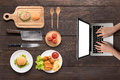 Searching for making fast food (burgers, fried chicken,french fr Royalty Free Stock Photo