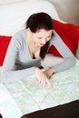 Searching in map. Royalty Free Stock Photo