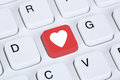 Searching partner and love online on internet dating computer Royalty Free Stock Photo