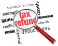 Searching for a Tax Refund - Magnifying Glass Royalty Free Stock Photo
