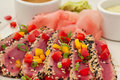 Seared Ahi Tuna with Sauces - horiz angle Royalty Free Stock Image