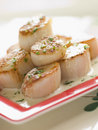Seared Scallops with Cava Cream and Herb Sauce Royalty Free Stock Photo