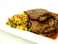 Searedribeyesteak seared reibeye steak in white background Royalty Free Stock Photo