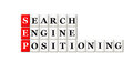 Searh engine positioning conceptual sep acronym on white Stock Images