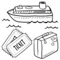 Seas cruise objects sketch Royalty Free Stock Images