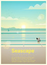 Seascape background with sea view in the morning Royalty Free Stock Photo