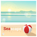 Seascape background with tropical beach in the morning Royalty Free Stock Photo