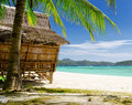 Seascape bamboo hut on a tropical beach Royalty Free Stock Photos