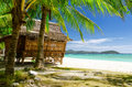 Seascape bamboo hut on a tropical beach Royalty Free Stock Photography