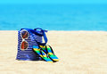 Seascape beach accessories concept of summer vacations Stock Photography