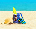 Seascape beach accessories concept of summer vacations Royalty Free Stock Image