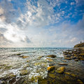 Seascape black sea anapa ru scenic view of waves and clouds russia Royalty Free Stock Photos