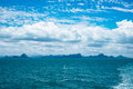 Seascape and blue sky at ko samui with fluffy white clouds koh in surat thani province thailand Royalty Free Stock Photos