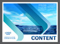 Seascape and blue sky presentation layout design template background for tourism travel business.  illustration Royalty Free Stock Photo