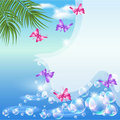 Seascape  with butterfly and  palm  branches Stock Photo