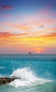 Seascape with cloudy orange sunset Royalty Free Stock Images