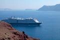 Seascape with cruise ships santorini greece beautiful Royalty Free Stock Photo