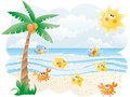Seascape with cute fishes vector wallpaper Royalty Free Stock Photos