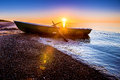 Seascape with fishing boat Royalty Free Stock Photo
