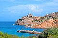 The seascape with granite rocks la maddalena sardinia september beach of cala spalmatore sheltered from winds by two headlands of Stock Image