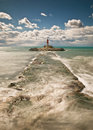 Seascape with a Lighthouse. Vertical Composition Royalty Free Stock Images