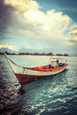Seascape in malaysia and a boat stop on the water Royalty Free Stock Photo