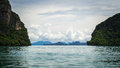 Seascape of phang nga bay thailand with cloudy sky Stock Photos