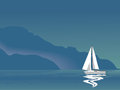 Seascape with sailboat Stock Photo