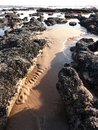 Seascape With Sand Ridges And Rock Pools Royalty Free Stock Photo