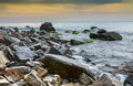 Seascape scenic large stones against the sea and sky bright Royalty Free Stock Image
