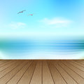 Seascape with seagulls empty wooden deck over blue sea and sky background Stock Images