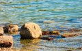 Seascape stone in water sea coast nature shore landscape Royalty Free Stock Photos