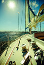 Seascape and sun on sky. View from yacht deck. Travel tourism. Royalty Free Stock Photo