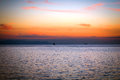 Seascape at sunset in the mediterranean sea Stock Photography
