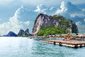 Seascape in Thailand.Phuket beach.Gypsy Nomad village Royalty Free Stock Photo