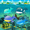 Seascape with treasure galleon and fish vector cartoon illustration Royalty Free Stock Image