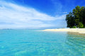 Seascape tropical beach blue sky and clear water Stock Photos