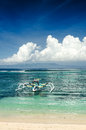 Seascape tropical beach and boat bali island Royalty Free Stock Images