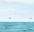 Seascape with water surface,cloudy sky,flying seagulls Royalty Free Stock Photo