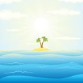 Seascape withtropical island vector illustration with tropical cartoon Royalty Free Stock Photos